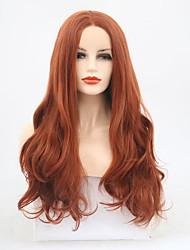 abordables -Perruque Lace Front Synthétique Ondulé Partie médiane Cheveux Synthétiques 22-24 pouce Ajustable / Résistant à la chaleur Marron Perruque Femme Long Dentelle frontale Auburn / Oui