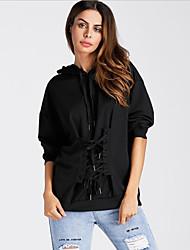 billige -Kvinder langærmet slank hættetrøje - solid farvet hættetrøje