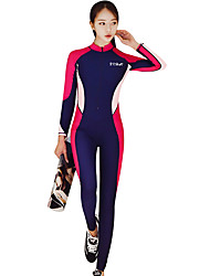 cheap -Women's Rash Guard Dive Skin Suit SPF30, UV Sun Protection, Quick Dry Polyester / Nylon / Spandex Full Body Swimwear Beach Wear Diving Suit Patchwork Front Zip Surfing / Snorkeling / Dive / Stretchy