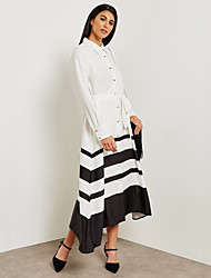cheap -Women's Street chic / Sophisticated Swing / Shirt Dress - Color Block Black & White, Lace up / Patchwork