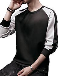 cheap -Men's Plus Size Long Sleeve Slim Long Sweatshirt - Color Block Round Neck