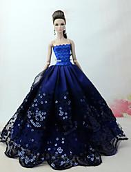 Недорогие -Платья Платье Для Кукла Барби Синий Тюль / Кружево / Шелково-шерстяная ткань Платье Для Девичий игрушки куклы