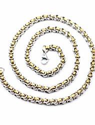 baratos -Homens bizantino Colar / Colar longo - Aço Titânio, Inoxidável Simples, Clássico Ouro + prata 60 cm Colar 1pç Para Rua, Para Noite