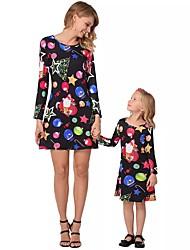 baratos -Adulto / Infantil / Bébé Mamãe e eu Geométrica / Estampa Colorida Manga Longa Vestido