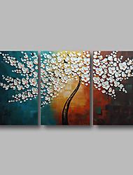 economico -Hang-Dipinto ad olio Dipinta a mano - Astratto / Floreale / Botanical Contemporaneo Tela / Tre Pannelli