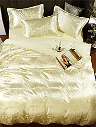 baratos -conjuntos de capa de edredão de luxo polyster jacquard 4 peças de cama conjuntos / 400 / 4pcs (1 capa de edredão, 1 folha plana, 2 fronhas) rei