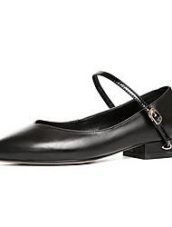 abordables -Femme Chaussures Cuir Nappa Eté Confort Mocassins et Chaussons+D6148 Talon Bottier Noir / Marron