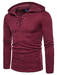 Недорогие -Муж. Повседневные Классический Однотонный Длинный рукав Большие размеры Тонкие Обычный Пуловер, Капюшон Осень Темно-серый / Винный / Светло-серый L / XL / XXL