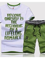 cheap -Men's Sports Short Sleeve Activewear Set - Color Block / Letter Round Neck