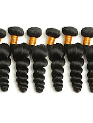 Недорогие -6 Связок Бразильские волосы Свободные волны 8A Натуральные волосы Человека ткет Волосы Пучок волос One Pack Solution 8-28 дюймовый Естественный цвет Ткет человеческих волос