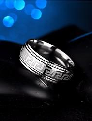 Недорогие -Муж. Кольцо 1шт Серебряный Титановая сталь Круглый Простой Камни Мода Свадьба Маскарад Бижутерия Стильные Тату с тотемом Cool