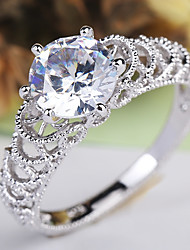 abordables -Femme Solitaire Bague - Cuivre, Platiné, Imitation Diamant Des nuages Elégant, Branché 6 / 7 / 8 / 9 / 10 Argent Pour Mariage Soirée