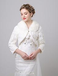 cheap -3/4 Length Sleeve Faux Fur Wedding / Birthday Women's Wrap With Pendant Coats / Jackets