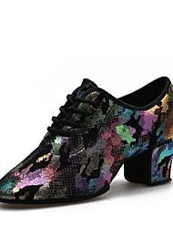 Недорогие -Жен. Танцевальная обувь Кожа Обувь для модерна На каблуках Толстая каблук Персонализируемая Фиолетовый / желтый / Выступление