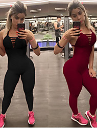 cheap -Women's Open Back Jumpsuit - Black, Burgundy Sports Fashion Spandex Tights / Leggings Running, Fitness, Dance Activewear 3D Pad, Anatomic Design, Compression Stretchy