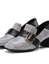 Недорогие -Жен. Обувь Наппа Leather Осень Удобная обувь Мокасины и Свитер На толстом каблуке Красный / Синий