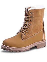Недорогие -Жен. Армейские ботинки Кожа Зима Ботинки На плоской подошве Черный / Верблюжий