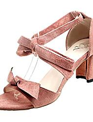 povoljno -Žene Cipele PU Proljeće / Ljeto D'Orsay cipele Sandale Kockasta potpetica Mašnica Crn / Bež / Pink