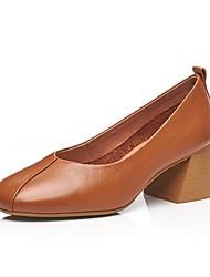 お買い得  -女性用 靴 レザー 夏 コンフォートシューズ / ベーシックサンダル ヒール チャンキーヒール ブラック / ベージュ / Brown