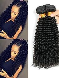 Недорогие -3 Связки Индийские волосы Kinky Curly 8A Натуральные волосы Необработанные натуральные волосы Человека ткет Волосы Сувениры для чаепития Уход за волосами 8-28 дюймовый Естественный цвет