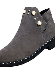 cheap -Women's PU(Polyurethane) Fall Bootie Boots Low Heel Round Toe Black / Gray