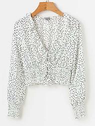 baratos -saia de blusa feminina - polka dot v neck