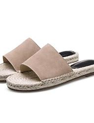 povoljno -Žene Cipele Brušena koža Ljeto Udobne cipele Sandale Ravna potpetica Crn / Badem