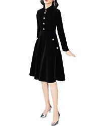 Недорогие -Жен. Элегантный стиль Оболочка Платье - Однотонный Средней длины / До колена