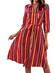 Недорогие -Жен. Классический Рубашка Платье - Полоски, С принтом Рубашечный воротник Средней длины