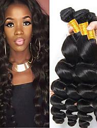 billige -4 pakker Brasiliansk hår Bølget Menneskehår Menneskehår, Bølget / Bundle Hair / Én Pack Solution 8-28 inch Menneskehår Vævninger Maskinproduceret Klassisk / Bedste kvalitet / Til sorte kvinder