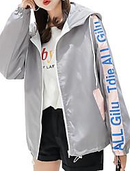 levne -Dámské Denní Standardní Bunda, Jednobarevné Kulatý Dlouhý rukáv Bavlna / Podšívka / Akryl Černá / Světlá růžová / Šedá L / XL / XXL