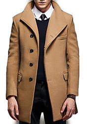 cheap -Men's Long Trench Coat - Solid Colored / Long Sleeve