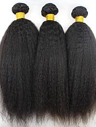 Недорогие -3 Связки Бразильские волосы Естественные прямые Натуральные волосы Человека ткет Волосы / Пучок волос / Накладки из натуральных волос 8-28 дюймовый Естественный цвет Ткет человеческих волос