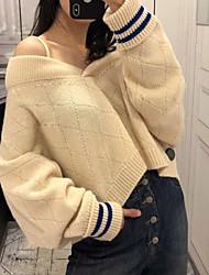 povoljno -Žene Dugih rukava Pullover Prugasti uzorak V izrez