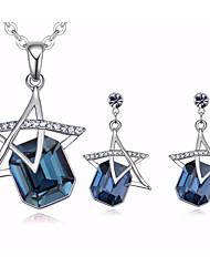abordables -Mujer Circonita Rolo Conjunto de joyas - Estrella Colgante, Romántico, Dulce Incluir Collar / Pendiente Plata / Rosa Rojo / Azul Para Regalo / Cita