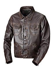 baratos -Homens Jaquetas de Couro Básico / Militar - Sólido