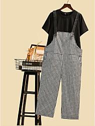 abordables -Mujer Alta cintura Algodón Corte Ancho Chinos / Mono Pantalones - Cuadrícula Retazos / Primavera / Otoño