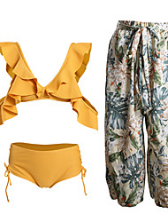 cheap -Women's Bikini - Solid Colored / Floral Backless / Ruffle / Print Cheeky