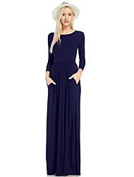 Недорогие -Жен. Классический Платье - Однотонный Макси