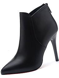 Недорогие -Жен. Полиуретан Осень Модная обувь Ботинки На шпильке Заостренный носок Ботинки Черный