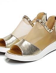 povoljno -Žene Cipele Ovčja koža Ljeto Udobne cipele Sandale Ravna potpetica Zlato / Crn / Pink