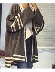 Недорогие -Жен. Длинный рукав Кардиган - Полоски V-образный вырез