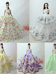 cheap -Dresses Dress For Barbie Doll Green mixed white Tulle / Lace / Silk / Cotton Blend Dress For Girl's Doll Toy
