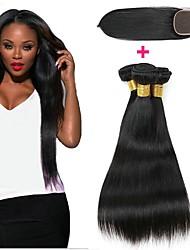 Недорогие -3 комплекта с закрытием Индийские волосы Африканские косы Прямой 8A Натуральные волосы Необработанные натуральные волосы Подарки Косплей Костюмы Человека ткет Волосы 8-20 дюймовый Естественный цвет