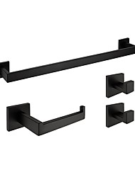 Rustproof Sus304 Stainless Steel Silky Matte Black Finished Bathroom Accessories Set Wall Mounted Or Nail Free Towel Bar Paper Holder Robe Hook Q7004 1