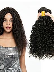 Недорогие -3 Связки Индийские волосы Бирманские волосы Kinky Curly 8A Натуральные волосы Необработанные натуральные волосы Подарки Косплей Костюмы Человека ткет Волосы 8-28 дюймовый Естественный цвет
