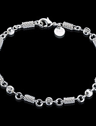 cheap -Women's Stylish / Link / Chain Silver Bracelets / Pendant Bracelet - S925 Sterling Silver Wave Stylish, Unique Design, Casual / Sporty Bracelet Silver For Daily / Date