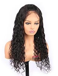 Недорогие -человеческие волосы Remy Полностью ленточные Парик Бразильские волосы Волнистые Черный Парик Средняя часть 130% Плотность волос с детскими волосами Женский Черный Жен. Длинные