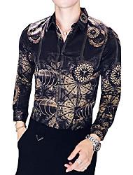 cheap -Men's Slim Shirt - Color Block Classic Collar / Long Sleeve