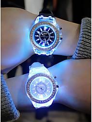 Недорогие -Муж. Жен. Спортивные часы Кварцевый Секундомер Творчество Светящийся силиконовый Группа Аналоговый Цветной Рождество Черный / Белый / Оранжевый - Синий Розовый Темно-синий Один год Срок службы батареи